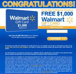 $1000 Walmart Gift Card Winner Fake Pop-up Removal Report