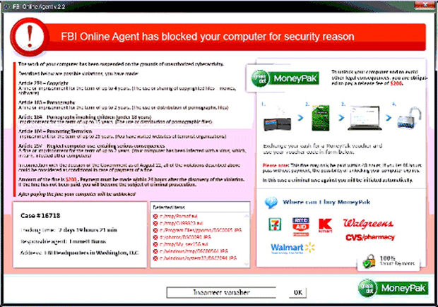 FBI Online Agent has blocked your computer for security