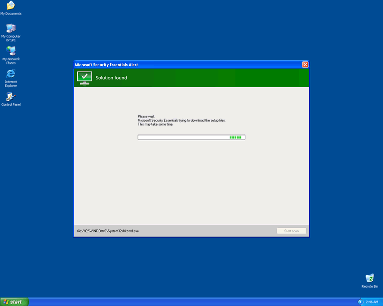 Fake Microsoft Security Essentials Alert Removal Report